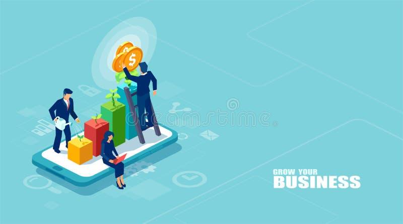 Vektor av businesspeople som tillsammans arbetar och växer en lyckad online-affär på en digital minnestavla royaltyfri illustrationer