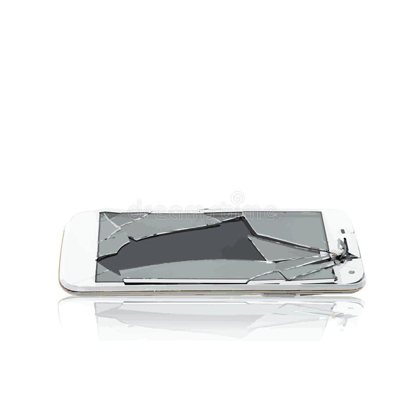Vektor av den cell- brutna glass telefonen fotografering för bildbyråer