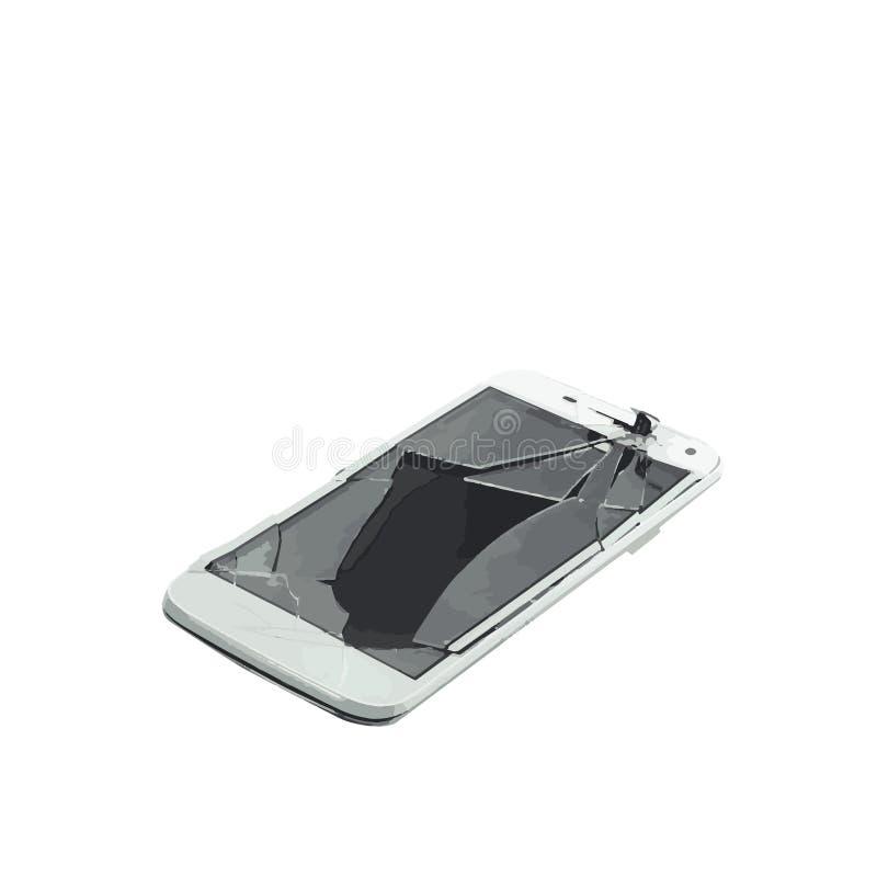 Vektor av den cell- brutna glass telefonen royaltyfri fotografi