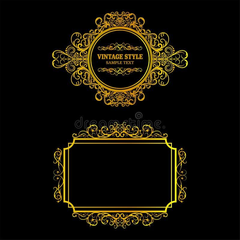 Vektor av den dekorativa guld- ramen för tappning royaltyfri illustrationer