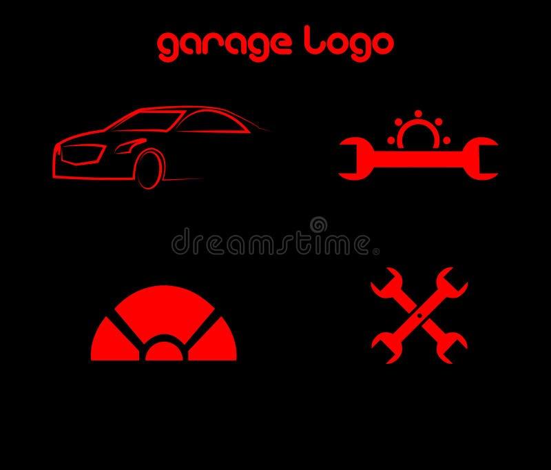Vektor av den enkla garagelogoen vektor illustrationer