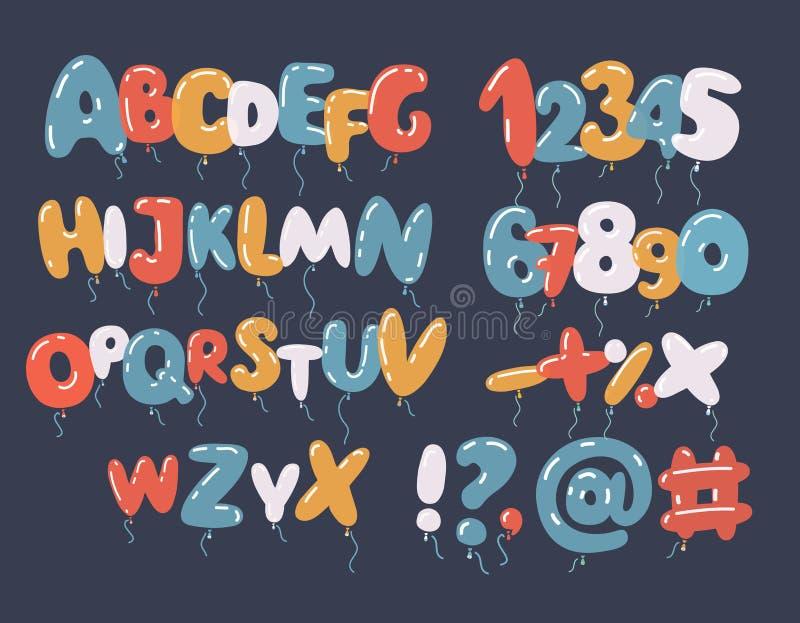 Vektor av den färgrika det ballongstilsorten och alfabetet stock illustrationer