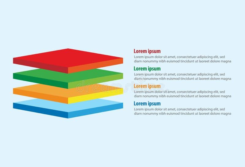Vektor av den infographic mallen för fyra lager för fyrkant 3D royaltyfri illustrationer