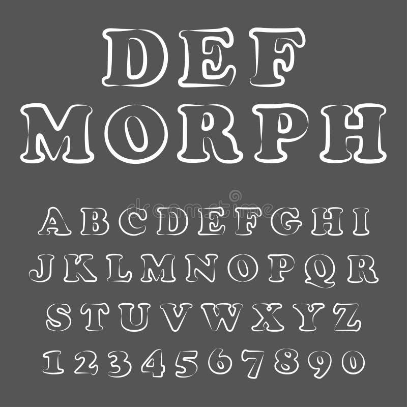 Vektor av den moderna sk?mtsamma stilsorten och alfabetet royaltyfri illustrationer