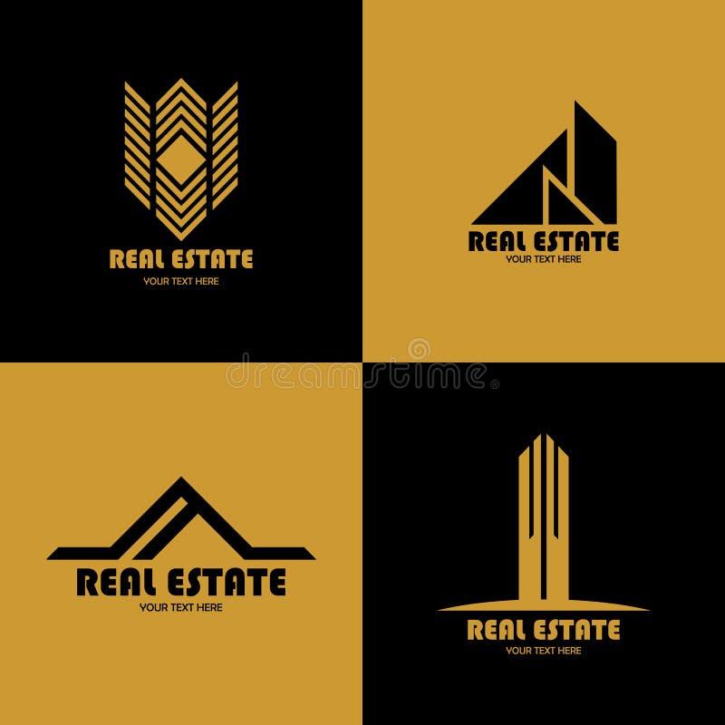 Vektor av den Real Estate logoen, elegant design stock illustrationer