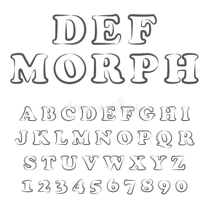Vektor av den stiliserade dj?rva stilsorten och alfabetet stock illustrationer
