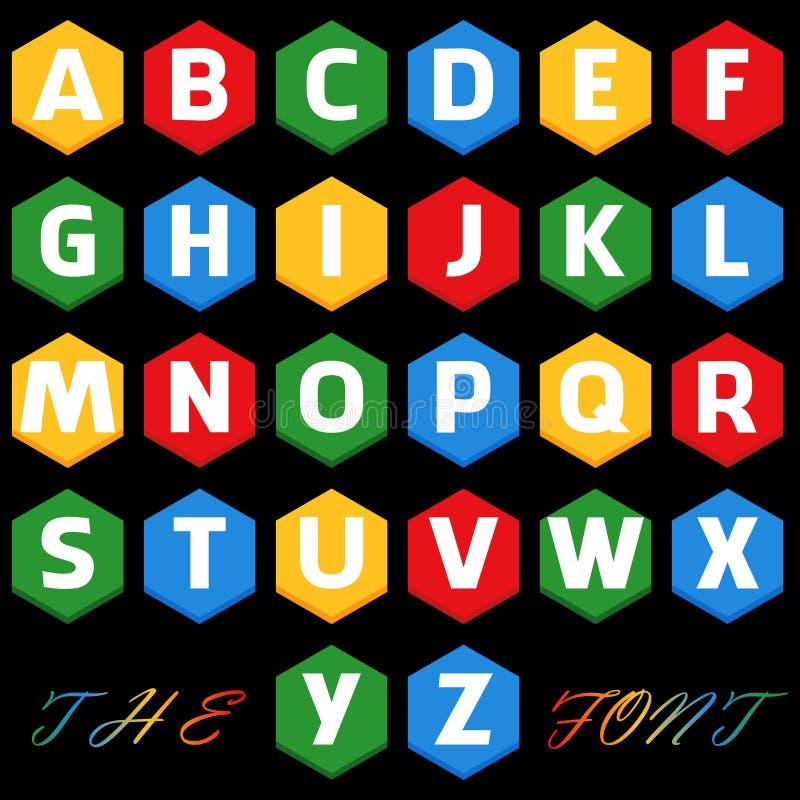 Vektor av den stiliserade färgrika stilsorten och alfabetet royaltyfri illustrationer