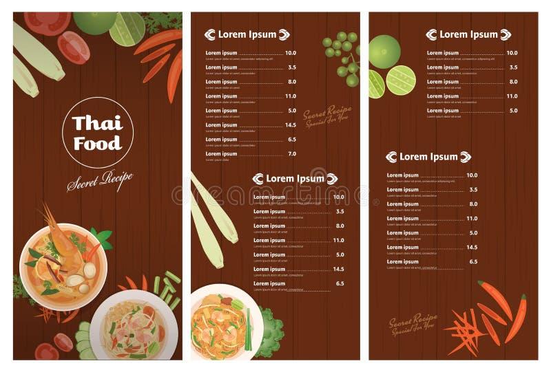 Vektor av den thailändska mallen för foodsrestaurangmeny vektor illustrationer