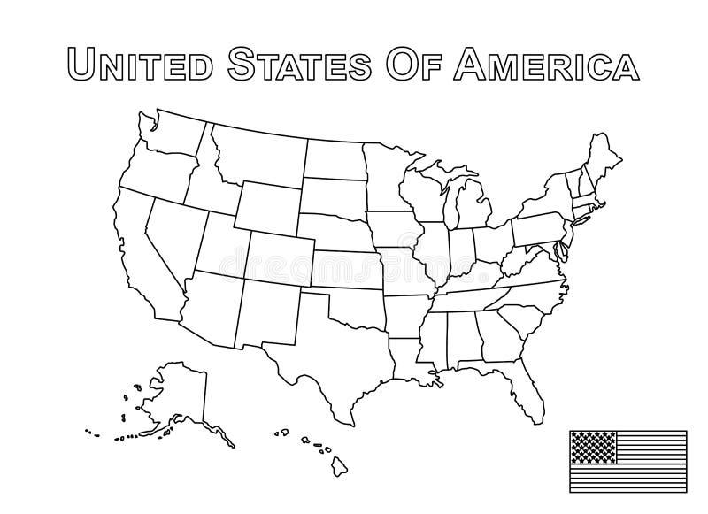 Vektor av den USA översikten och amerikanska flaggan Översiktsstil stock illustrationer