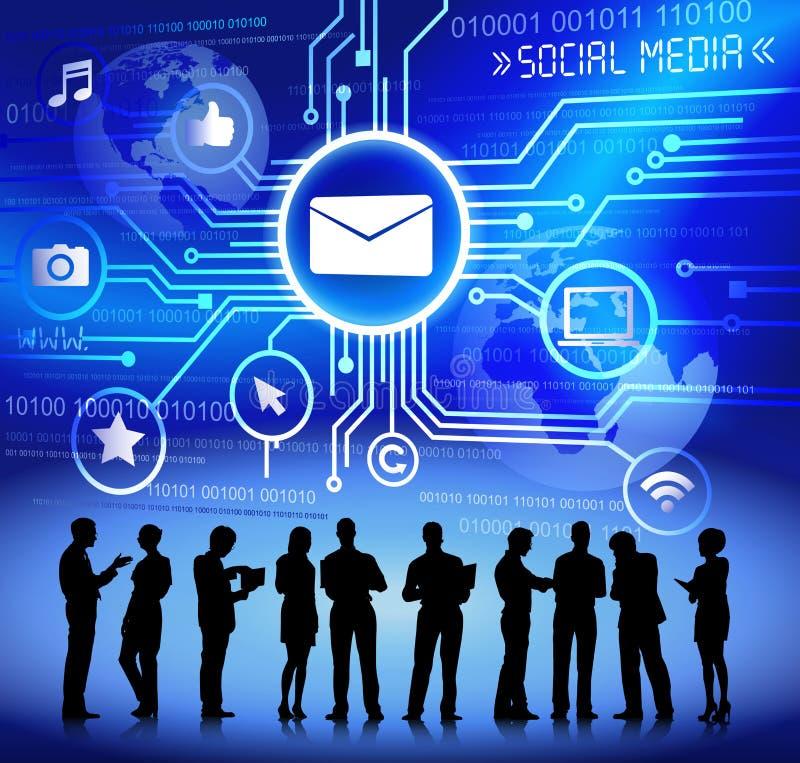 Vektor av det affärssamkvämMedia Communication begreppet stock illustrationer