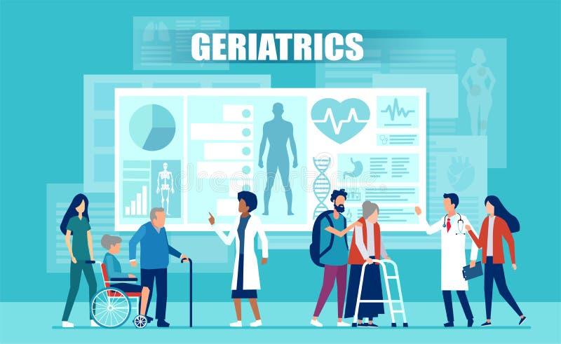 Vektor av det medicinska laget som hjälper äldre patienter med handikapp genom att använda medicinska apps och modern teknologi royaltyfri illustrationer
