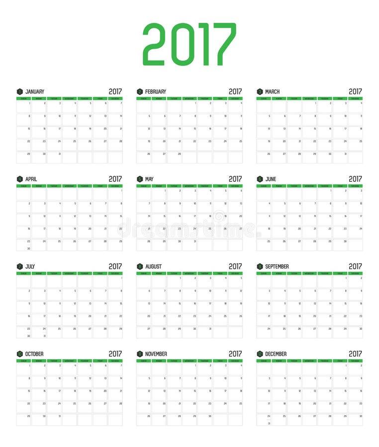 Vektor av det nya året för kalender 2017, 12 månad kalenderuppsättning med gre vektor illustrationer