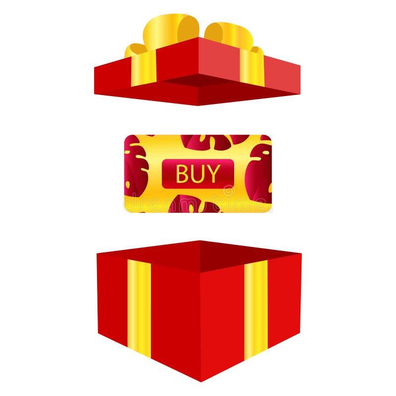 Vektor av eleganta presentkort med realistiska röda pilbågar, gåvaaskar, leksaker, band Festlig bakgrund för design av royaltyfri illustrationer