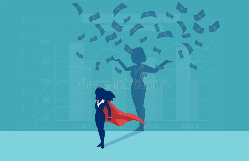 Vektor av en affärskvinna för toppen hjälte med hennes lyckade skugga under pengarregn royaltyfri illustrationer