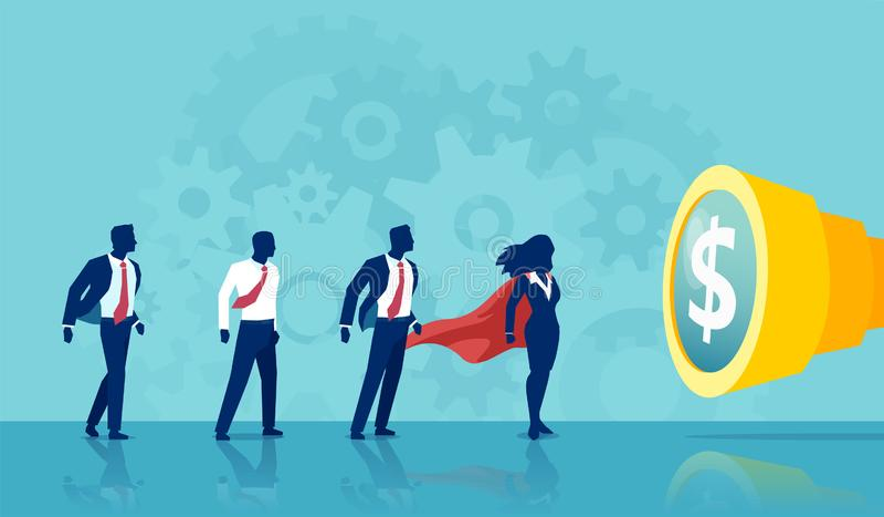 Vektor av en affärskvinna för toppen hjälte som leder en grupp av affärsfolk vektor illustrationer