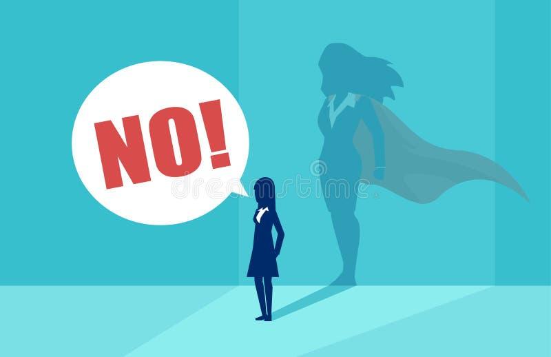 Vektor av en affärskvinna med superheroskugga som skriker inte royaltyfri illustrationer