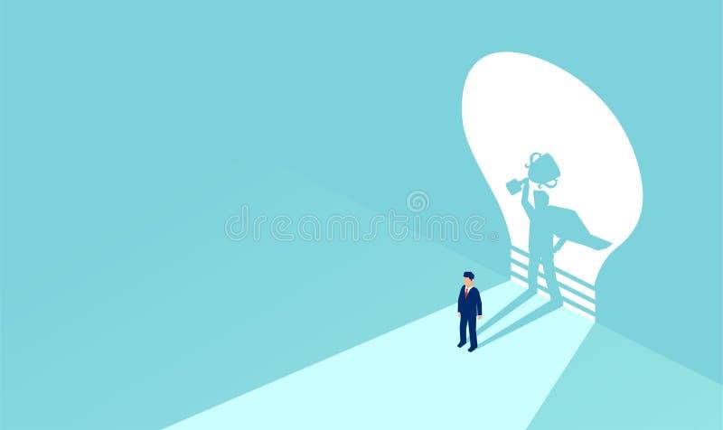 Vektor av en affärsman med superheroskugga som rymmer en trofé stock illustrationer
