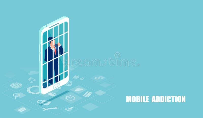 Vektor av en affärsman som missbrukas till mobiltelefonen stock illustrationer