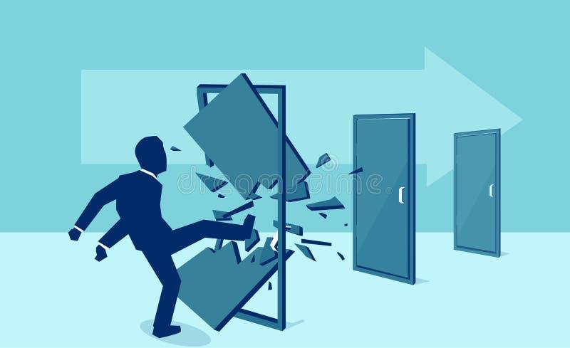 Vektor av en affärsman som ner, en och en sparkar och den förstörande dörren vektor illustrationer