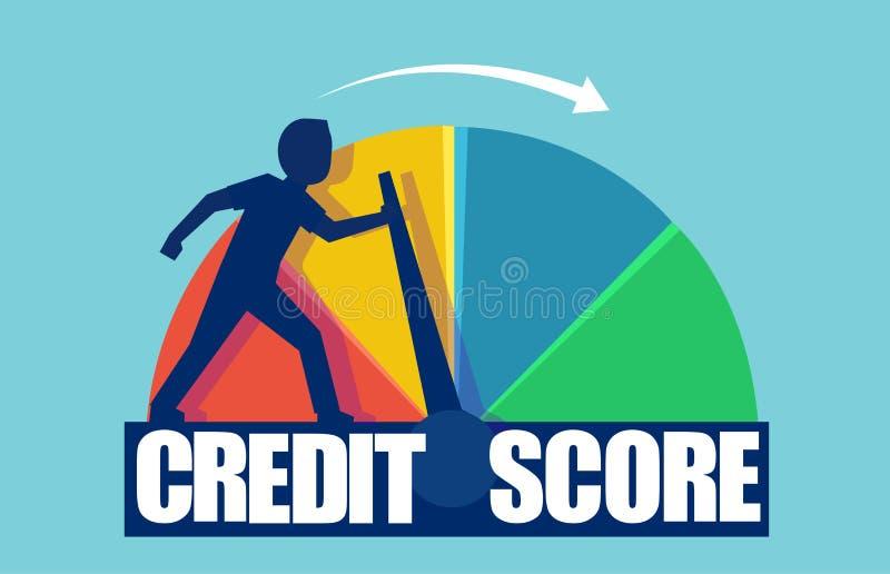 Vektor av en affärsman som skjuter information om kreditering för skala ändrande från fattigt till bra royaltyfri illustrationer