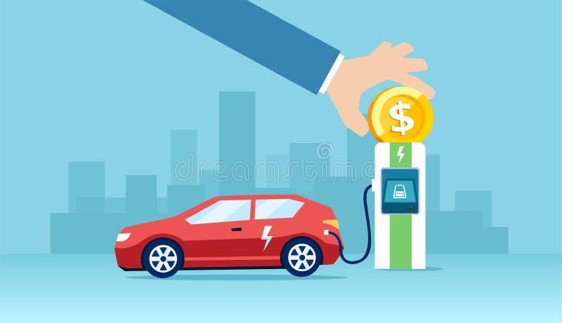 Vektor av en elbil som laddar på de sparande pengarna för uppladdarestation royaltyfri illustrationer