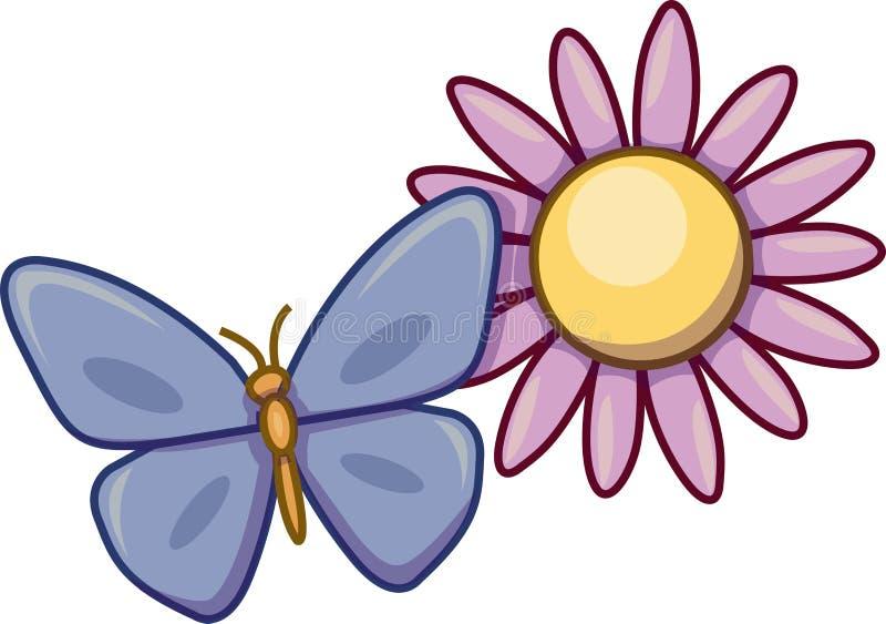 Vektor av en fjäril och en blomma stock illustrationer