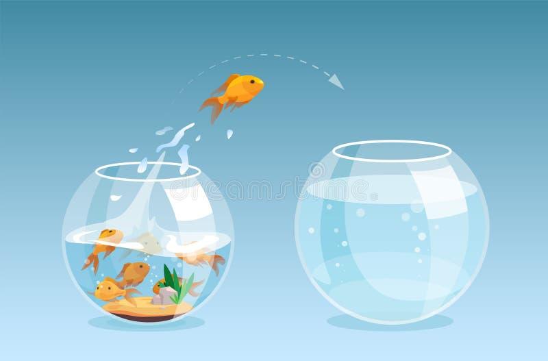 Vektor av en guldfisk som ut hoppar en fishbowl till ett annat akvarium vektor illustrationer