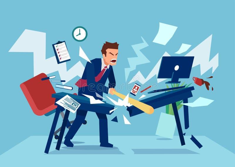 Vektor av en ilsken affärsman i hans kontor vektor illustrationer