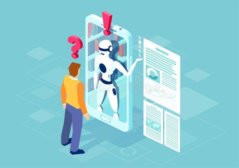 Vektor av en man som frågar en fråga en robot som är online- på mobiltelefonen royaltyfri illustrationer