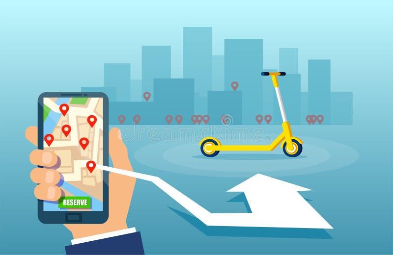 Vektor av en man som hyr en elektrisk sparkcykel genom att använda dela den mobila appen för service vektor illustrationer