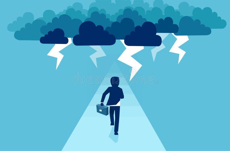 Vektor av en modig affärsman som vänder mot en storm stock illustrationer