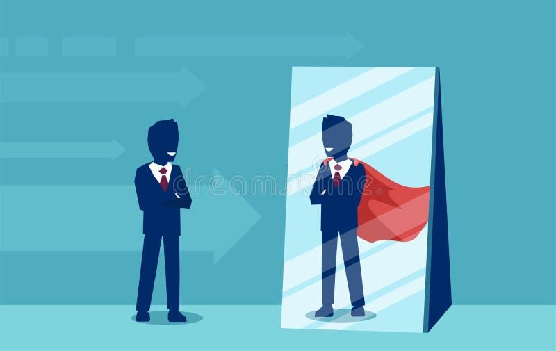 Vektor av en motiverad affärsman som vänder mot sig som en toppen hjälte i spegeln vektor illustrationer