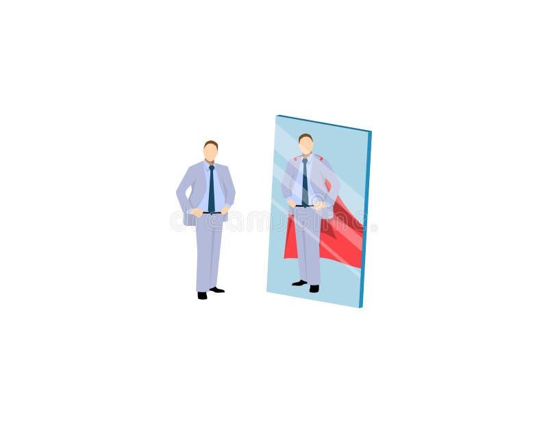 Vektor av en motiverad affärsman som vänder mot sig som en toppen hjälte i spegeln Självförtroendebegrepp stock illustrationer