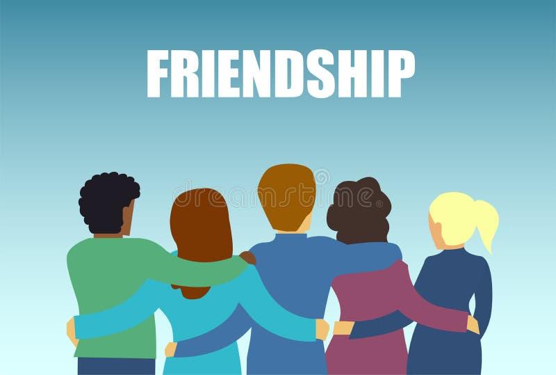 Vektor av en olik vängrupp människor som tillsammans kramar stock illustrationer