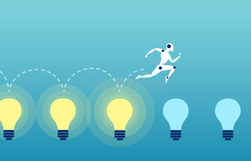 Vektor av en robot som hoppar över de ljusa lightbublsna vektor illustrationer