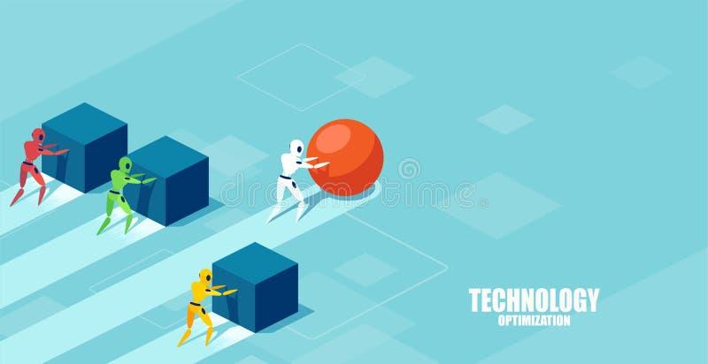 Vektor av en smart robot som skjuter en sfär som leder loppet mot en grupp av långsammare robotar som skjuter askar stock illustrationer