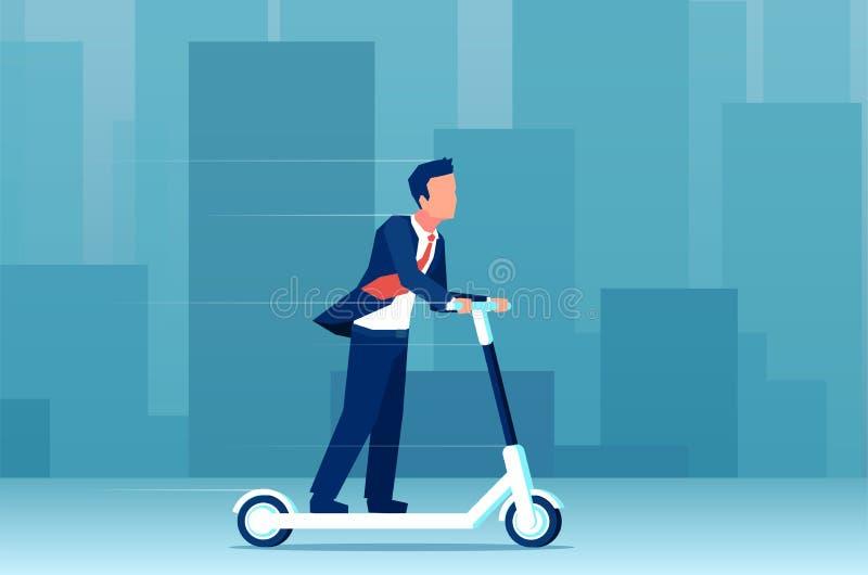 Vektor av en ung affärsman som rider en elektrisk sparkcykel på en modern cityscapebakgrund stock illustrationer