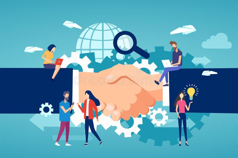 Vektor av entreprenörer och det frilans- laget för gemenskapmedlemmar som arbetar på en handskakningbakgrund stock illustrationer