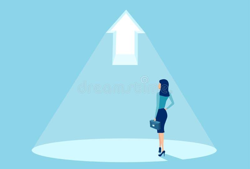 Vektor av ett affärskvinnaanseende i ljus av en ljus pil royaltyfri illustrationer