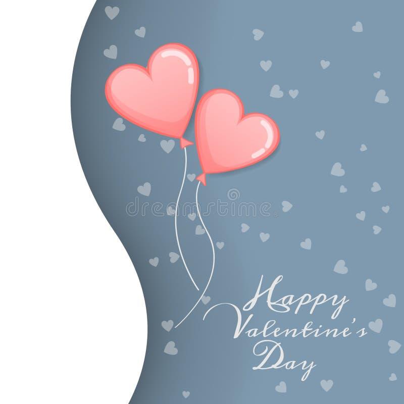 Vektor av förälskelse och den lyckliga valentindagen rosa ballong två med himmel för hjärtaformflöte upp till med för valentindag vektor illustrationer