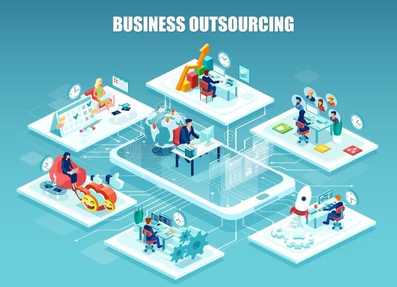 Vektor av företagsanställd som arbetar i olika kontor som avlägset klaras av vektor illustrationer