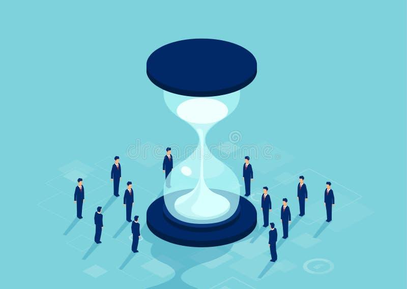 Vektor av gruppen av affärsmän som står runt om timglaset som löser ett problem stock illustrationer
