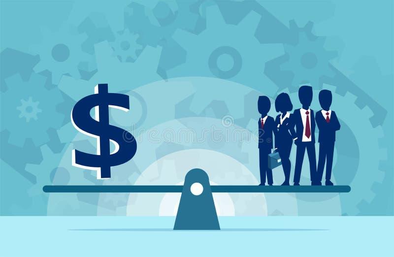 Vektor av gruppen av businesspeoplepersonalresurser eller pengar på skalan stock illustrationer
