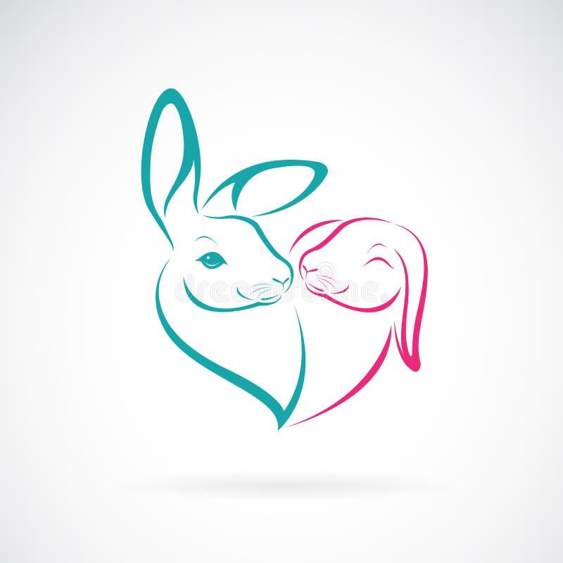 Vektor av huvuddesignen för två kanin på vit bakgrund wild djur Oavbrutet tjata logoen eller symbolen Uttryck av f?r?lskelse L?tt vektor illustrationer