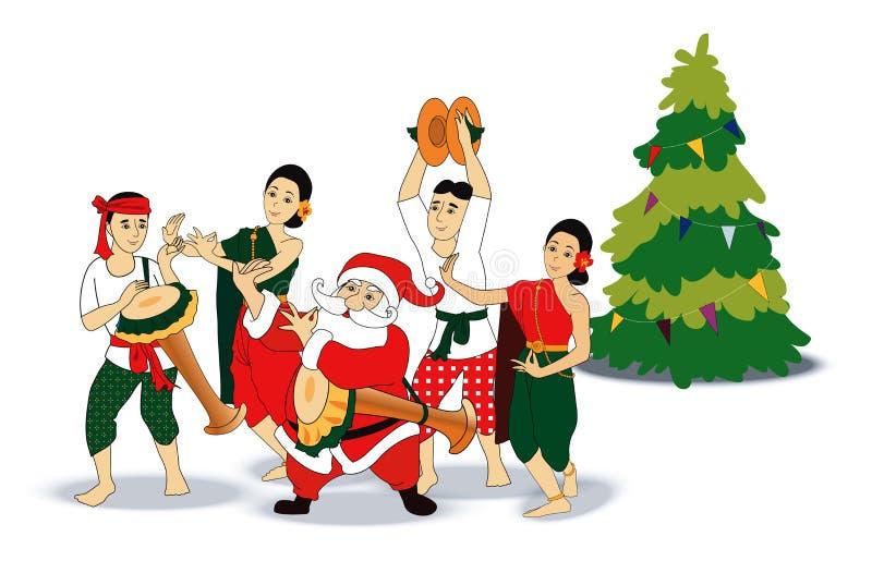 Vektor av jultomten med thailändsk dans royaltyfri illustrationer