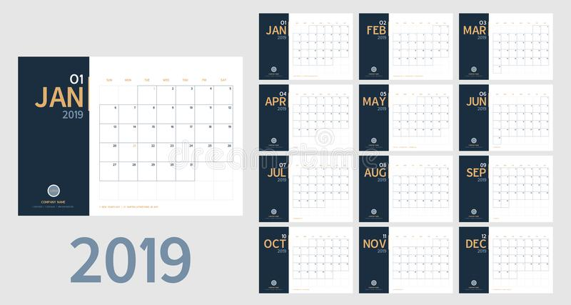 Vektor av kalendern för nytt år 2019 i ren minsta tabell enkelt s vektor illustrationer