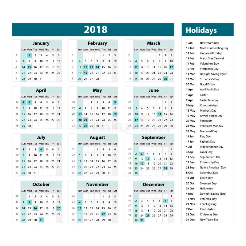 Vektor av kalendern och ferier för nytt år 2018 stilblått färgar, feriehändelsestadsplaneraren, veckastarter söndag stock illustrationer