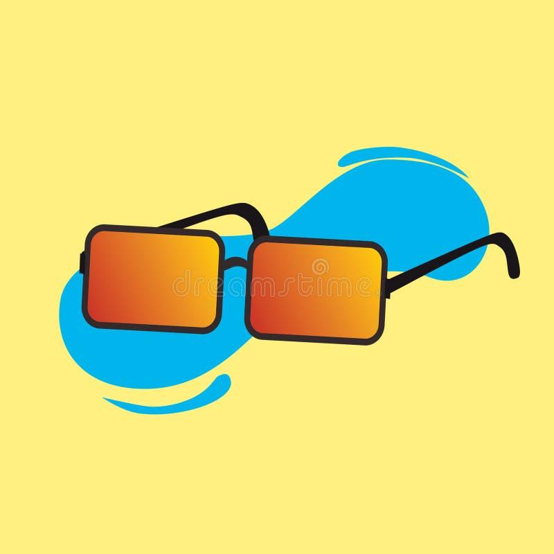 Vektor av kalla solexponeringsglas med gul bakgrund royaltyfri illustrationer