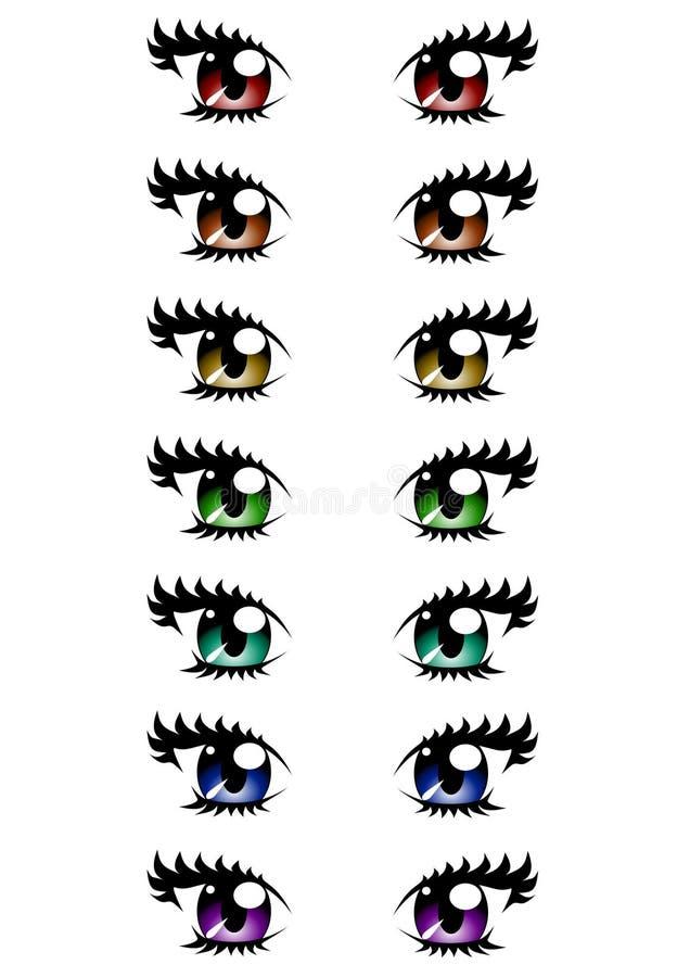 Vektor av kvinnaögon av olika färger som isoleras på vit bakgrund, tecknad film, anime, manga royaltyfri illustrationer