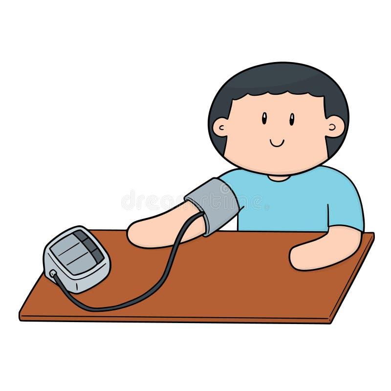 Vektor av mannen som använder blodtryckbildskärmen stock illustrationer